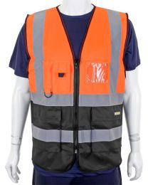 Orange/Black Hi Vis executive waistcoat